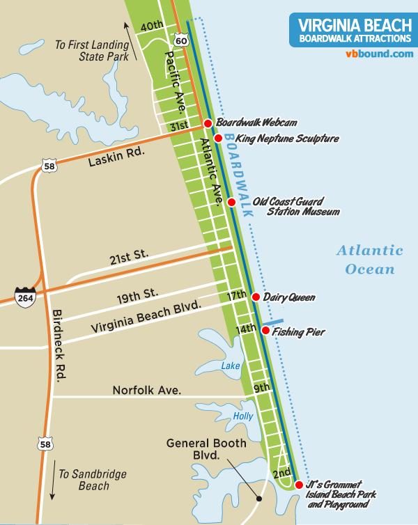 Boardwalk Attractions Map  Virginia Beach Vacation Guide