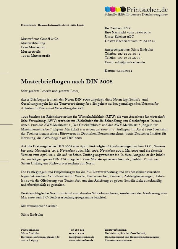 Vorlagen Briefpapier: Die DIN 5008 aus April 2011 hat einige ...