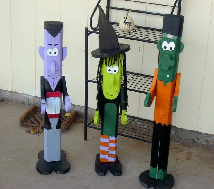 People Decorating For Halloween halloween pole people made of 2 x 4 wood. dracula. witch