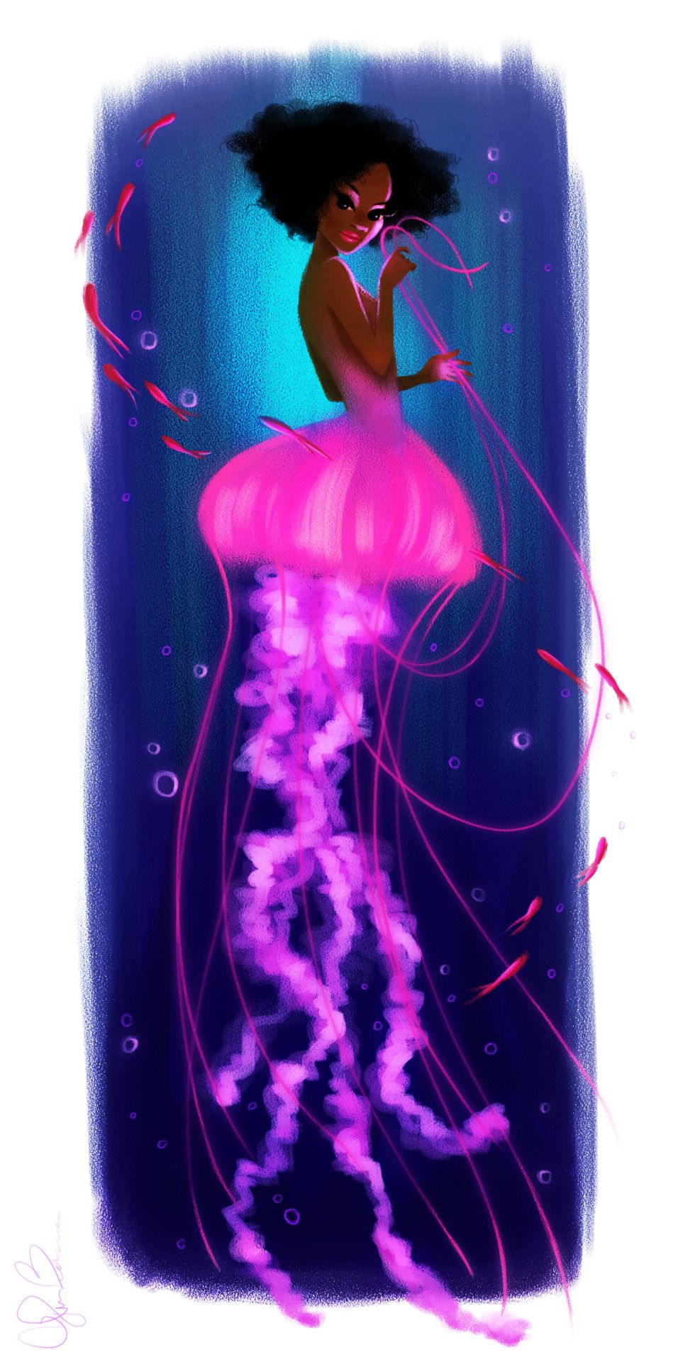 Here is a piece that i love of a mermaidesque jelly fishher upper