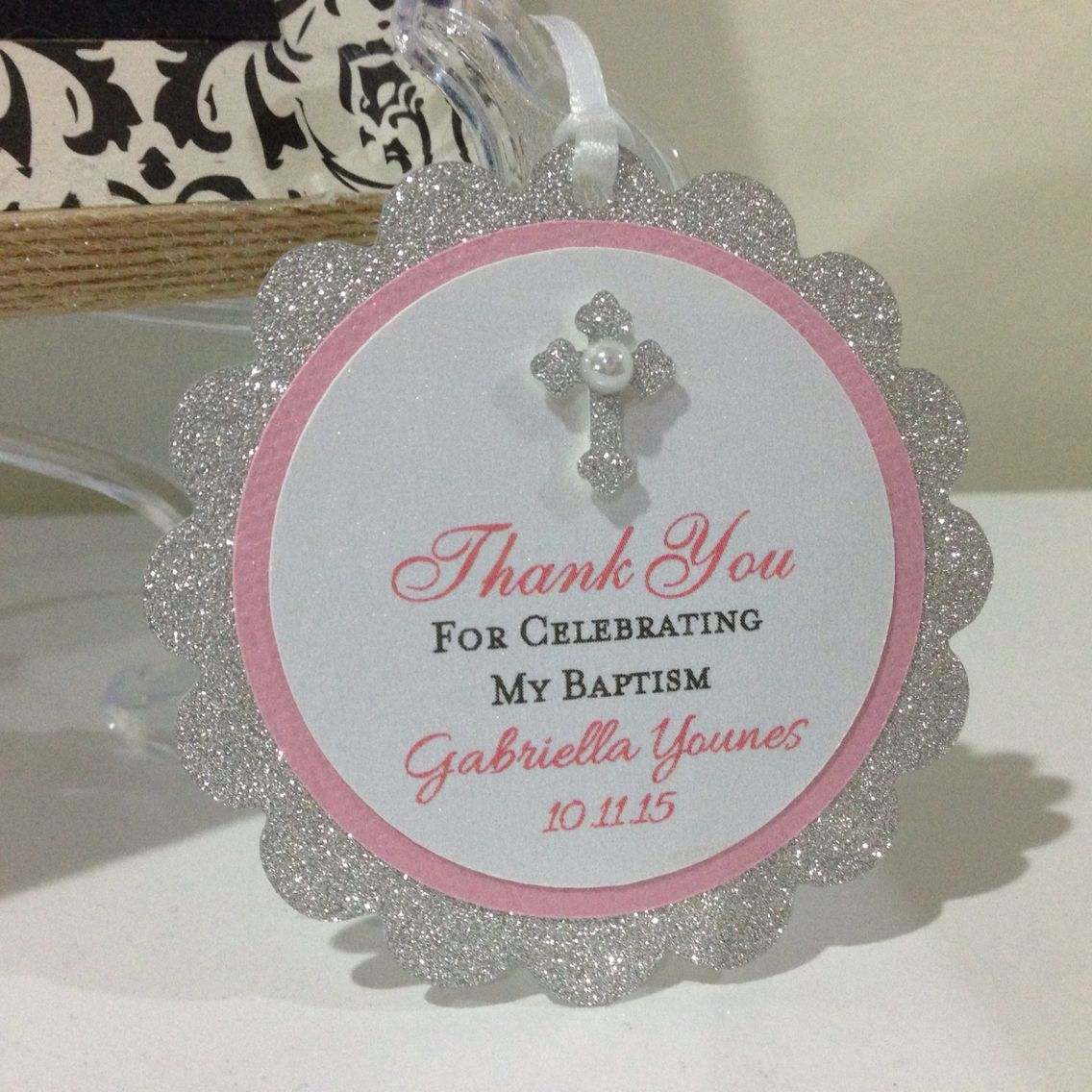 Baptism favor tags for a baby girl handmade by