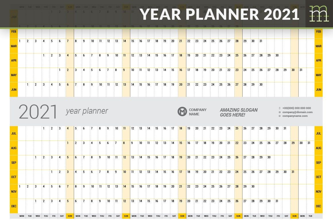 Year Planner 2021 YP02521 Printable PDF InDesign Adobe