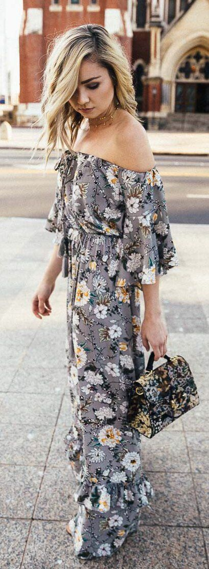 #cute #outfits  Grey Flower Printed Maxi Dress / Flower Printed Satchel