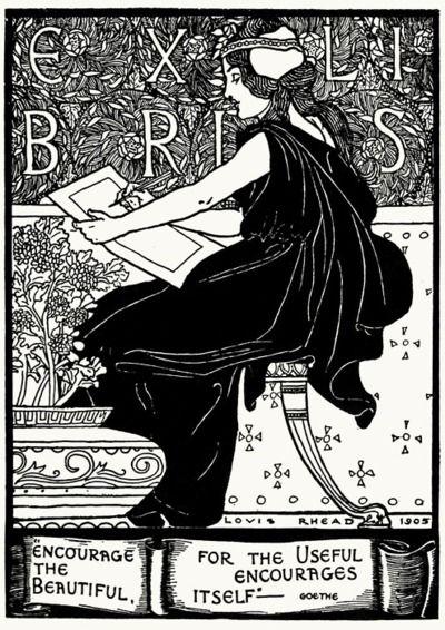 ≡ Bookplate Estate ≡ vintage ex libris labels︱artful book plates - Louis Rhead, 1905