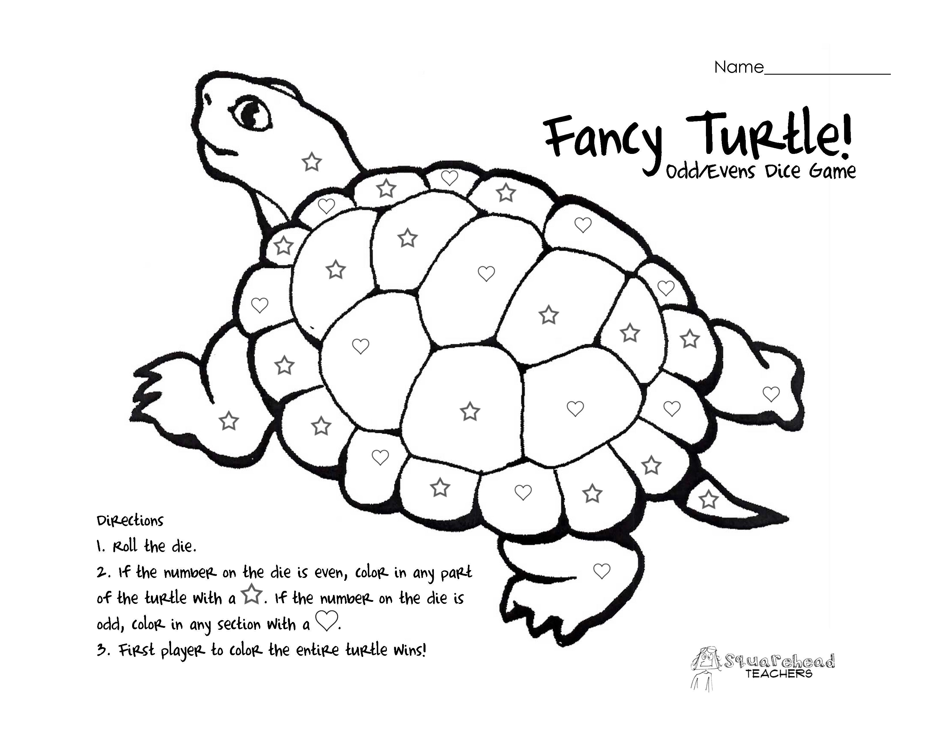 Fancy Turtle Odd Evens Dice Game Turtle Pattern Cartoon