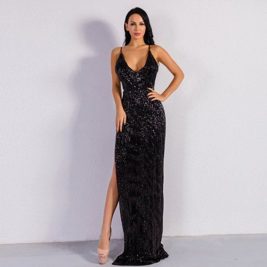 Women Sequin High Split Cocktail Dresses Backless Maxi Party Dress #backlesscocktaildress