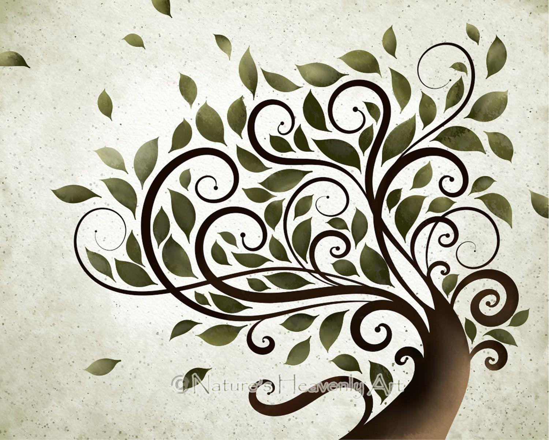 Whimsical Wall Art summer tree print, whimsical wall art, watercolor tree artwork