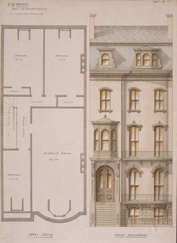 Attic Floor Plan And Front Elevation Of The P D Wallis