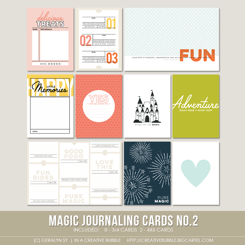 Capture the details of your special Disney memories or any form of magic in your life with these new In a Creative Bubble cards.This set of ten digital journaling cards is perfect for pocket page protectors, scrapbooking and mini-books. Included in this set are individual high resolution .png files and two printable .pdf pages.This set contains: 8 - 3x4* Journaling cards 2 - 4x6 Journaling cards*actual size of cards is 2.95x4 to comfortably fit Project Life page prot...