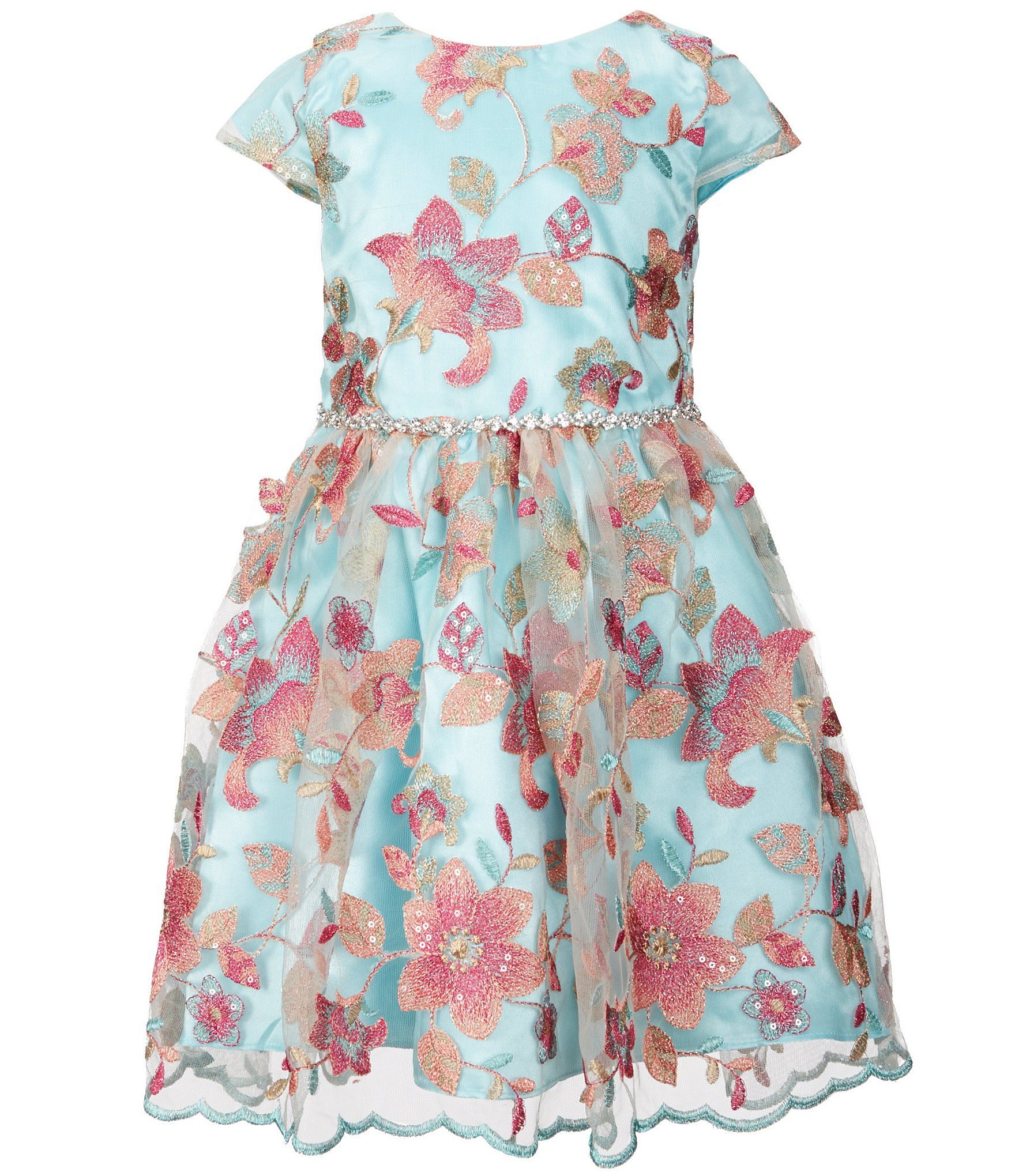 f3b1f77a0a0 Rare Editions Little Girls 2T6X Floral Embroidered Sequin Mesh ScallopedHem  Skater Dress  Dillards