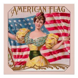 American Flag Vintage Advertising Poster