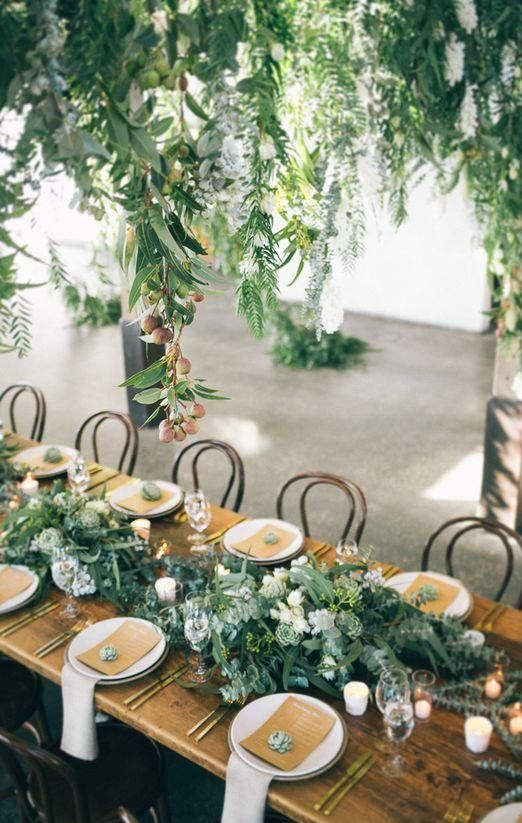 "Wedding styling timber tables with greenery.    The Bride Guide; Styling your wedding with Pantone colour of the year ""greenery with Maggie Sottero wedding dresses""     www.raffaeleciuca.com.au  Raffaele Ciuca Bridal  Melbourne, Australia"