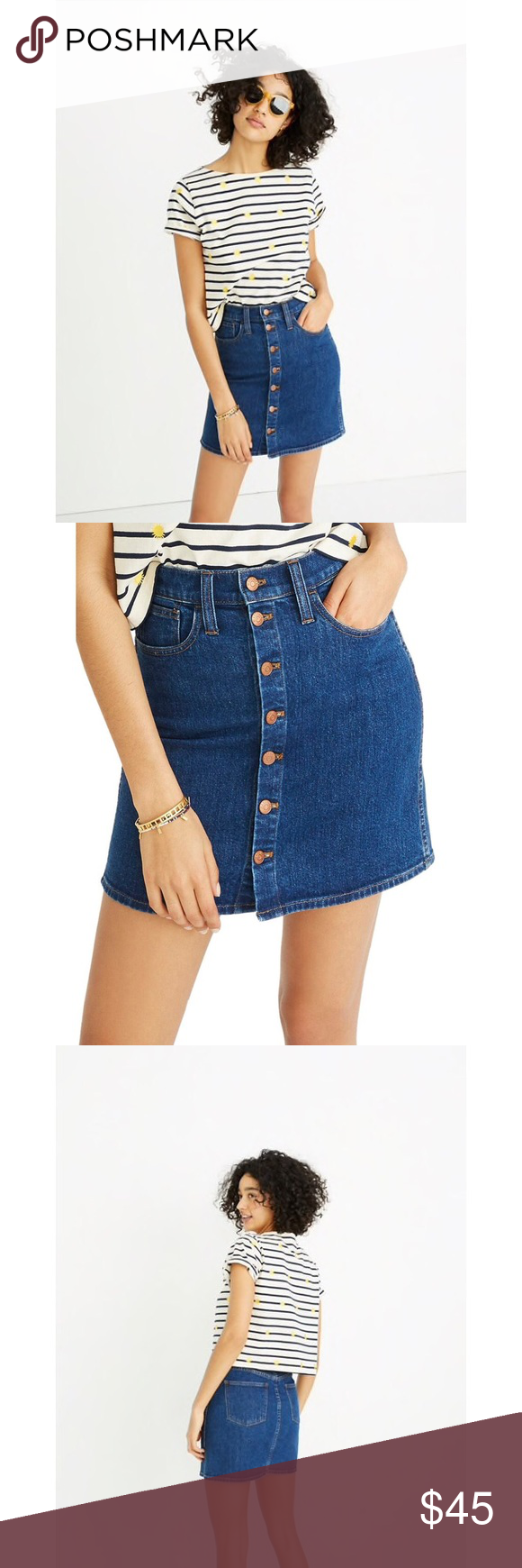 ac010df773 Madewell Denim Straight Button Up Mini Skirt Color is arroyo wash.  Excellent condition with no
