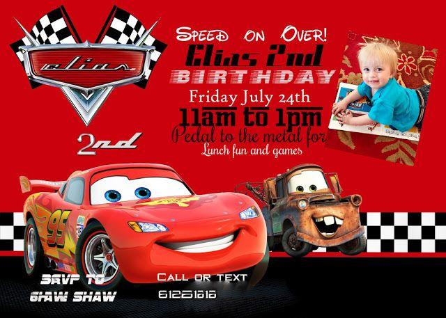 cars party cars birthday invitations