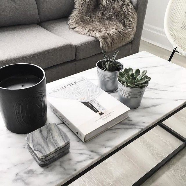 west elm: box frame coffee table, marble/antique bronze