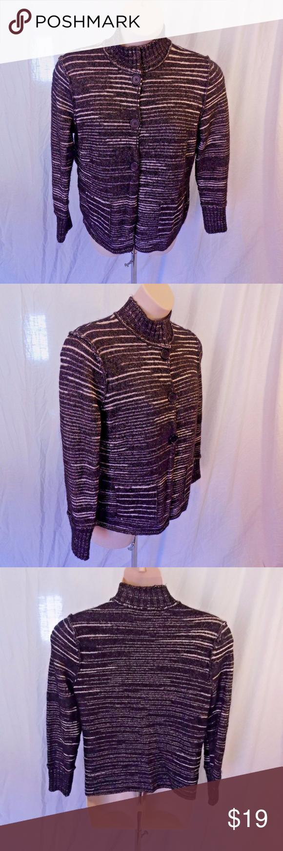 Jones New York XL Cardigan Sweater Black Silver   Black silver ...