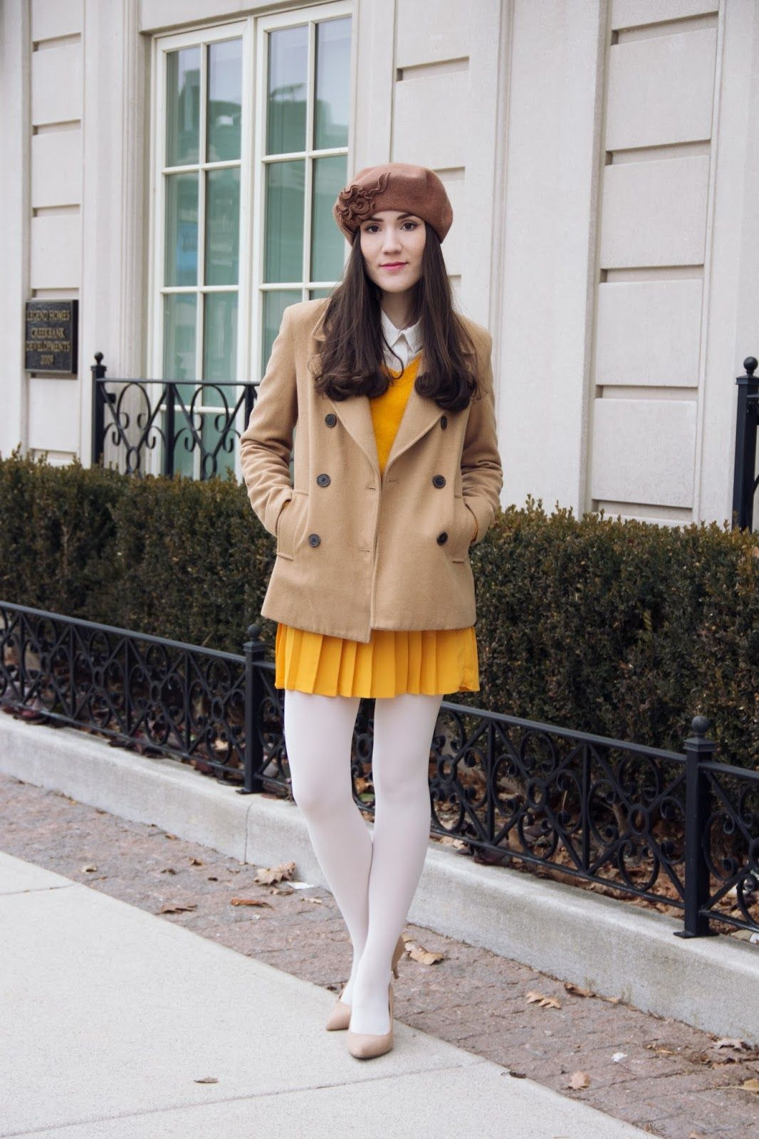 41cf77b74caa5a Awesome mustard against plaques white tights. Traffic-stopping chic! Love  it!