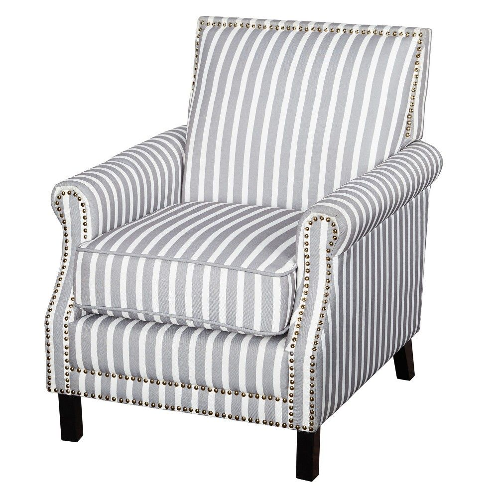 Petrie Accent Chair White Gray Angelo Home Adult Unisex White