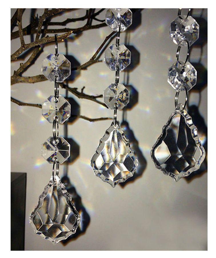 30pcs DIY Acrylic Crystal Beads Garland Chandelier Hanging Wedding Party Decor