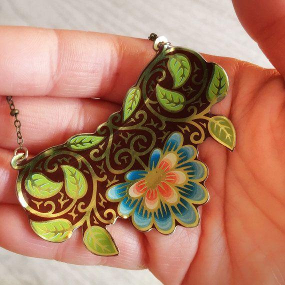 Recycled Tin necklace vintage tin jewelry by CellarDoorShoppe