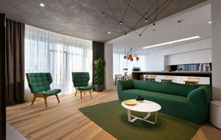 farbe grün modern-einrichten-wohnzimmer-sofa-weiss-couchtisch ...