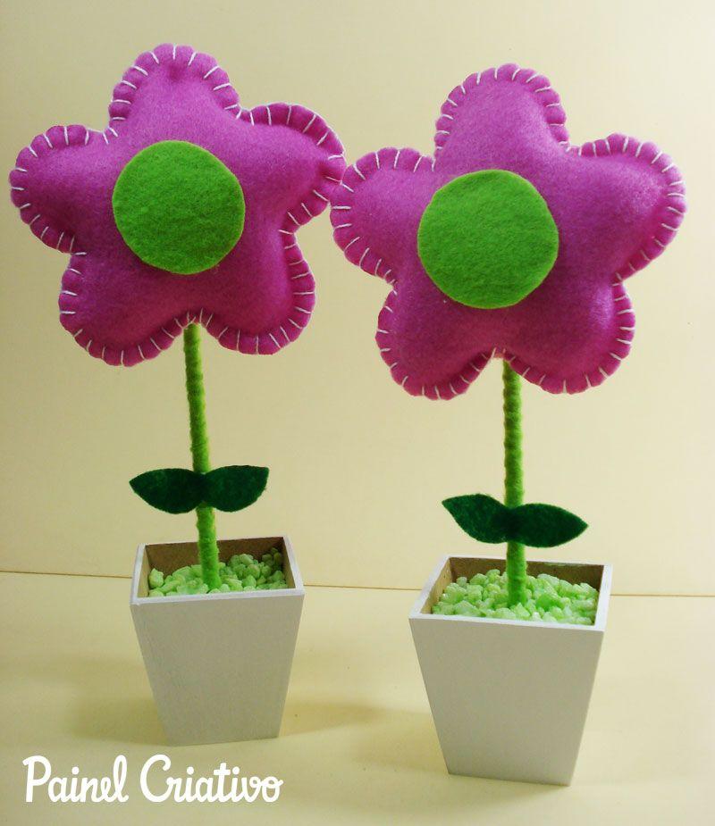 Adesivo De Unha Bailarina ~ faca voce mesmo passo a passo flor feltro vasinho d flor lembrancinha aniversario maternidade