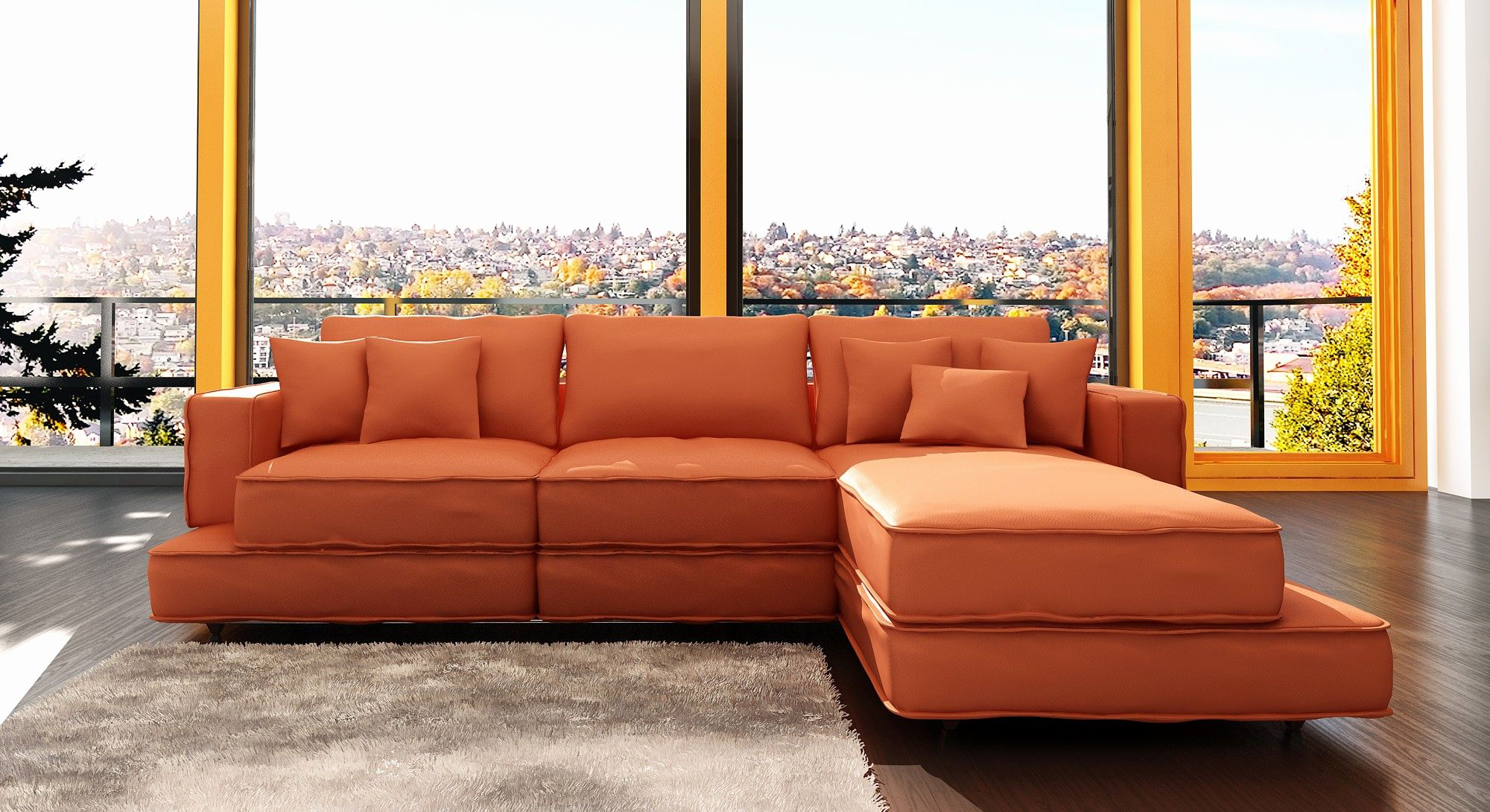 Amazing Orange Sectional Sofa Pics Orange Sectional Sofa Unique