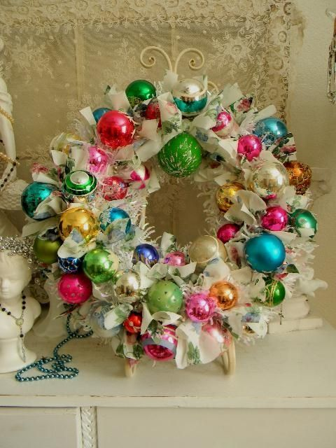 shabby so chic christmas wreath vintage mercury glass ornaments