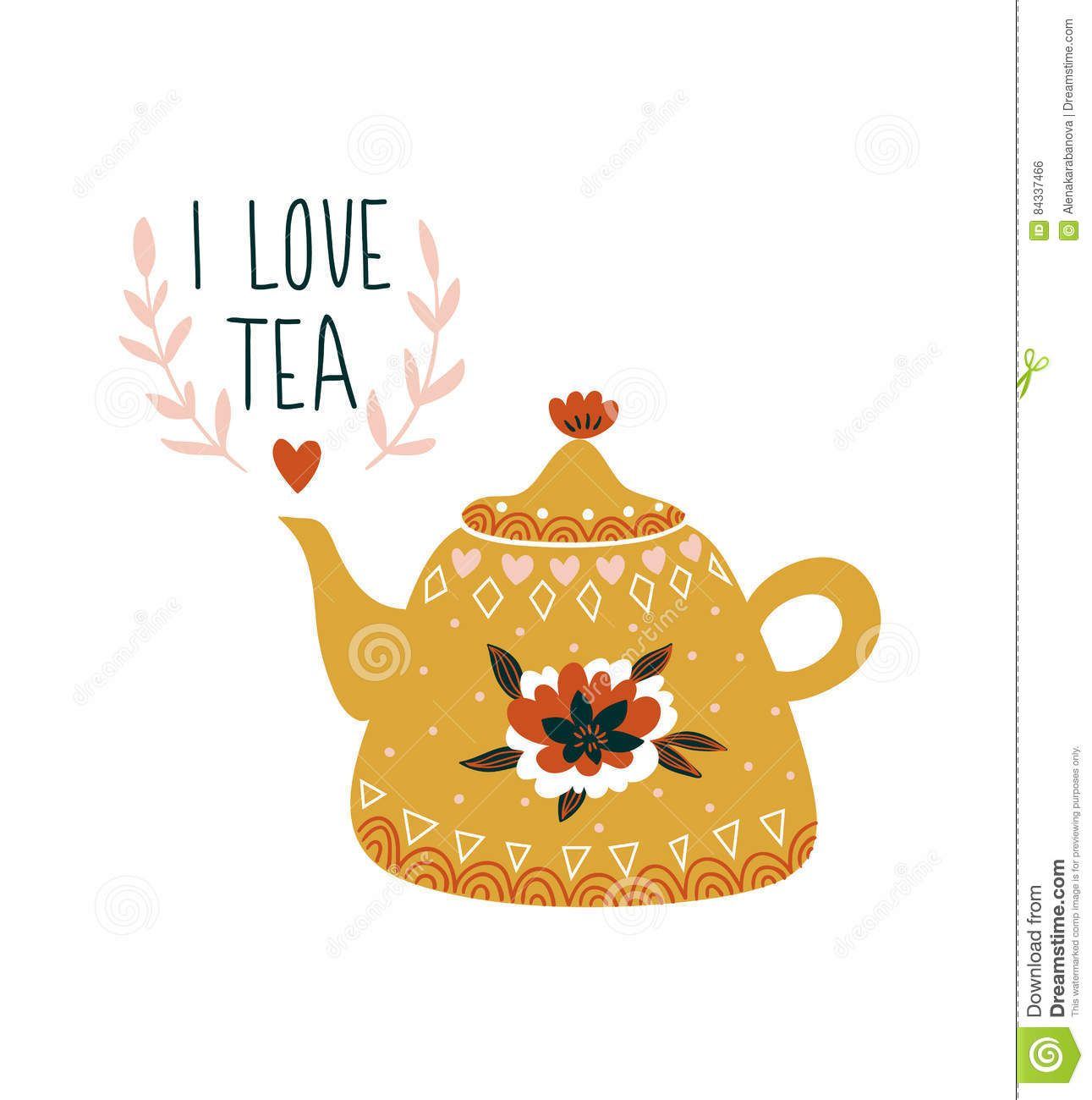 Hand Drawn Card With Teapot And Stylish Lettering I Love Tea Scandinavian Style Illustration Tea Illustration Tea Art Teapot Drawing