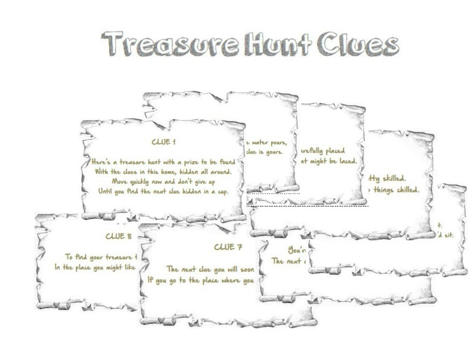 Indoor Rhyming Treasure Hunt Clues Printable Instant