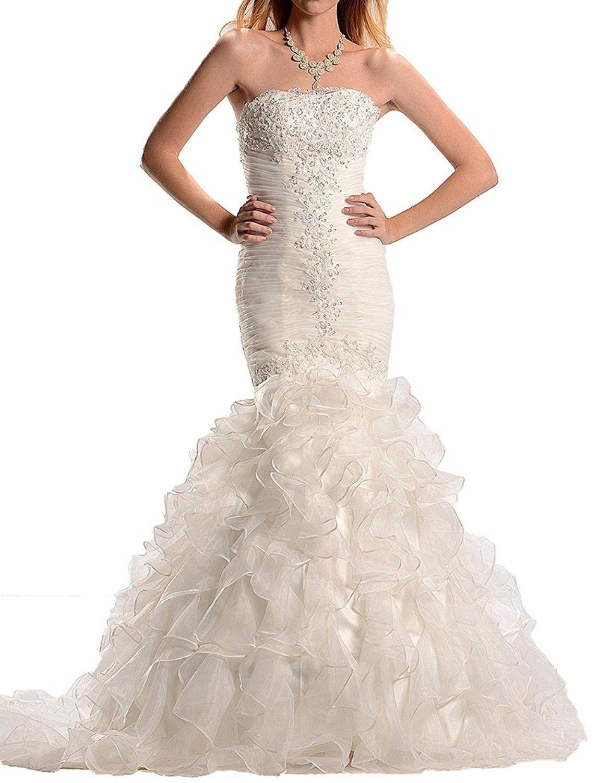 Wedding dress patterns free  Mella Womenus Strapless Mermaid Wedding Dresses for Bride
