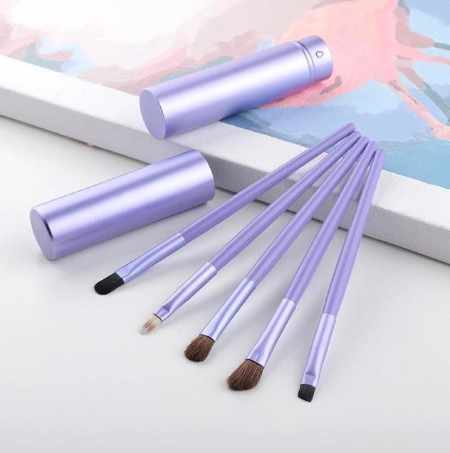 Photo of 5Pcs Portable Aluminum Tube Mini Eye Brush Eyeliner Eyeshadow Make Up Brushes Set for Travel