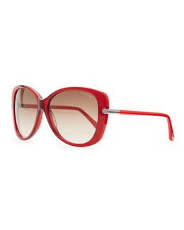 D0NXH Tom Ford Linda Acetate Butterfly Sunglasses, Red