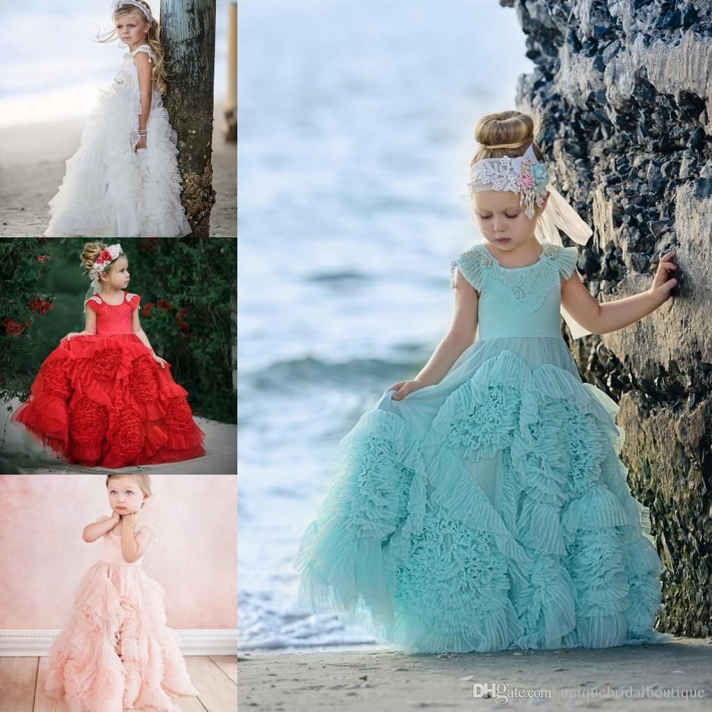 Pleated Floral Flower Girls Dresses 2018 Cute First Communion Dress ...