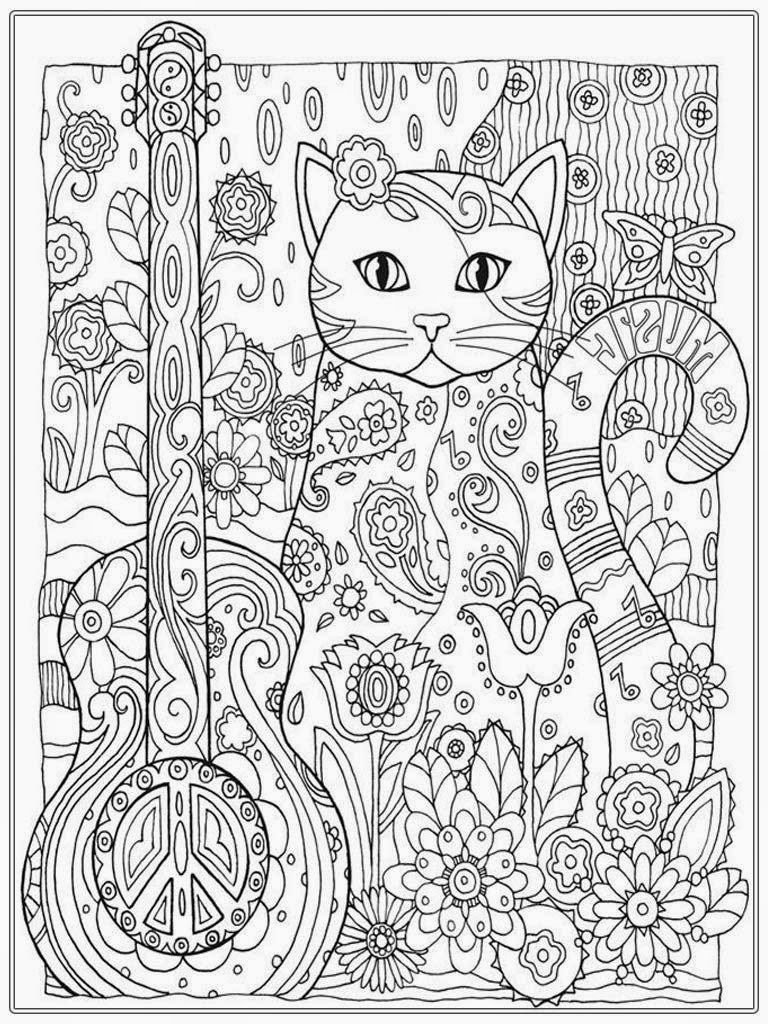 Pretty Cat Coloring Pages For Adult Printable  Adult coloring
