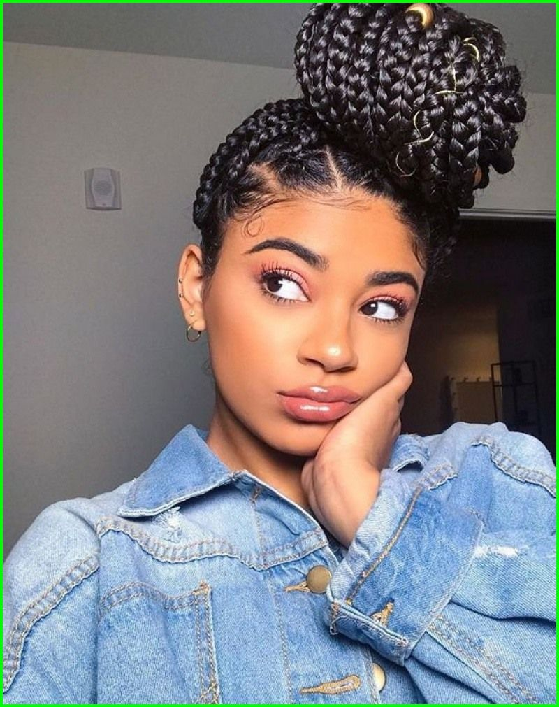 Bun Hairstyles For Black Hair 5758 Cute Black Hairstyles To Do At Home Gegehe Braids With Weave Braided Hairstyles Box Braids Hairstyles
