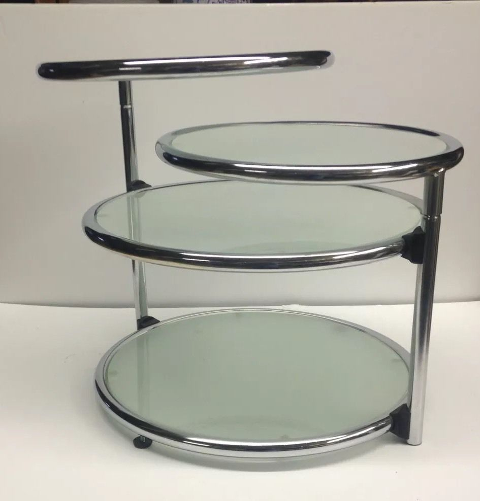 Midcentury Baughman Reproduction Silver Chrome Round Tier Swivel Gl Table
