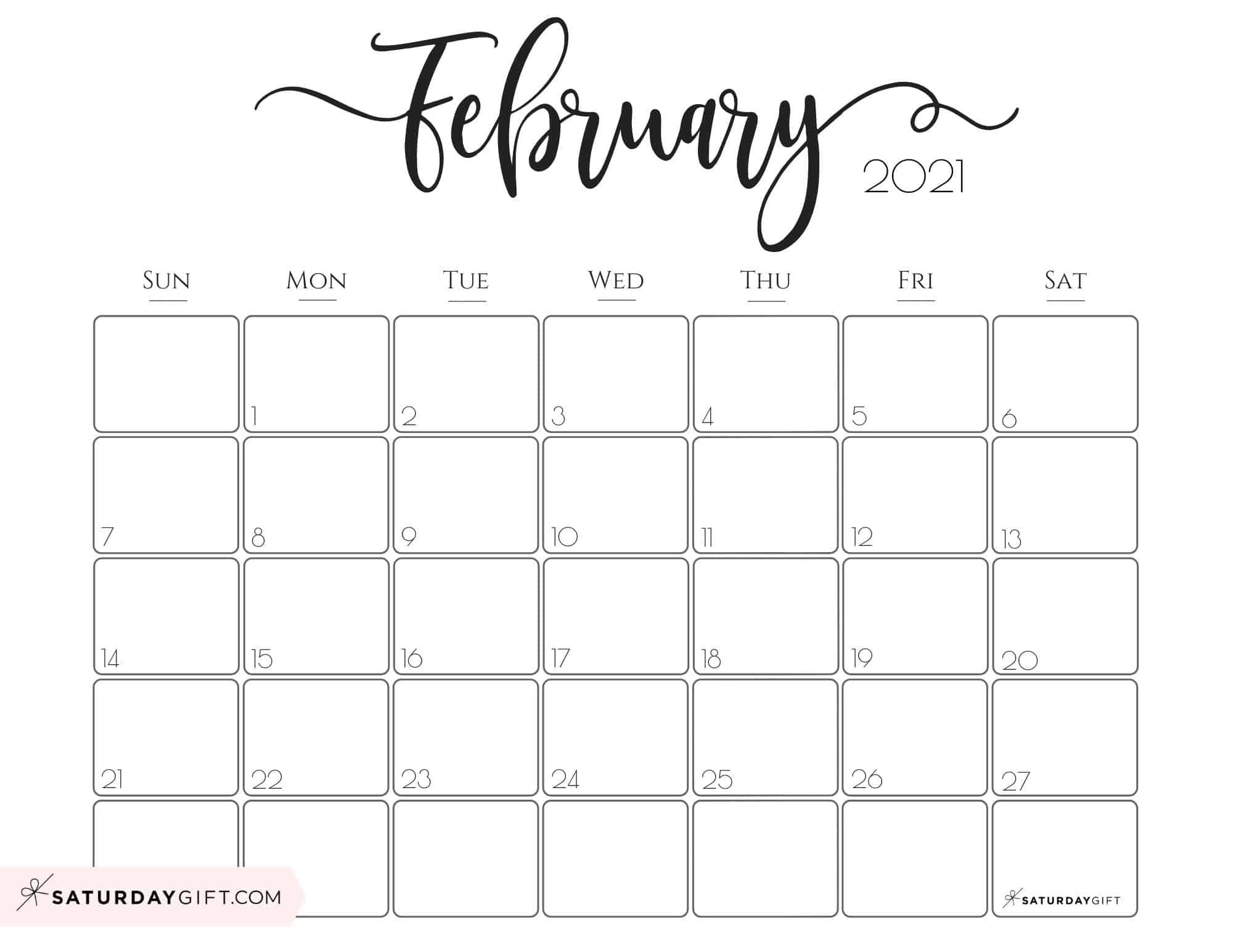 Cute Free Printable February 2021 Calendar Saturdaygift In 2020 Monthly Calendar Printable Calendar Printables Monthly Calendar