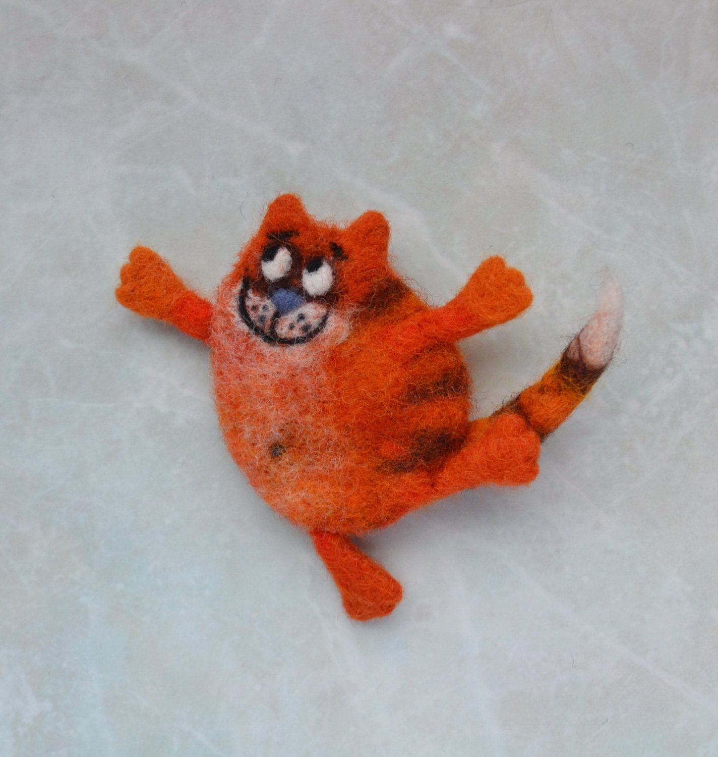 Happy Red Cat Felt Brooch Felted Accessories by