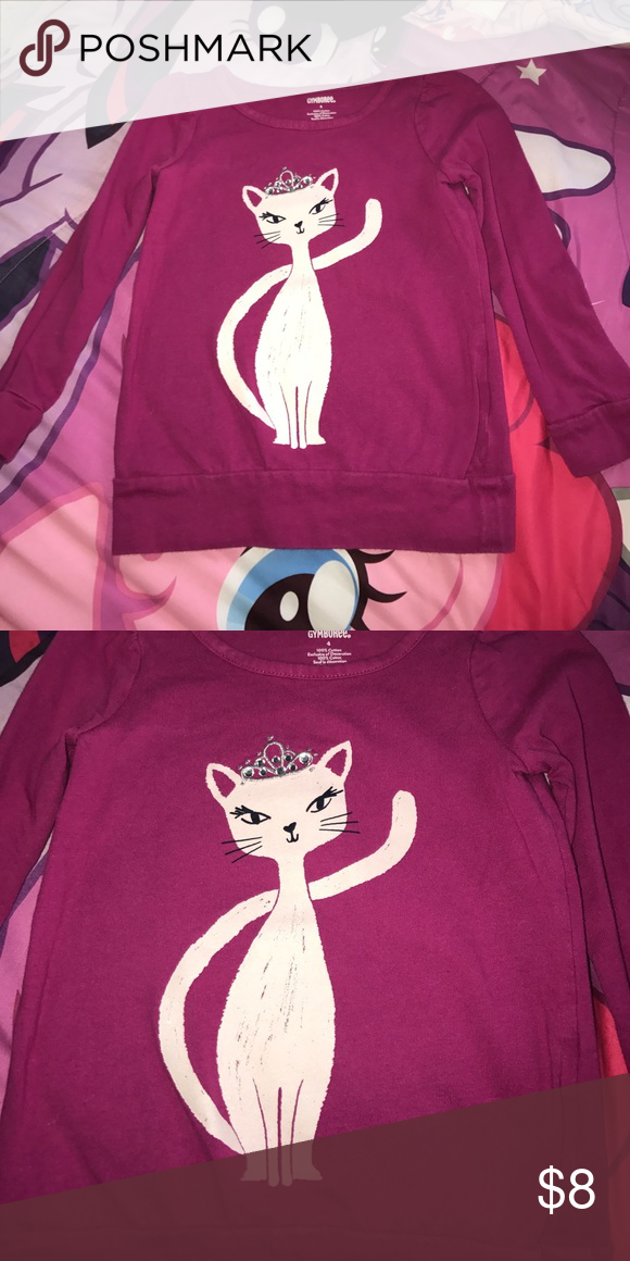Girls top Girls size 4 Gymboree top on the front the kitten has a rhinestone tiara all the rhinestones are all intact shirt is in great condition Gymboree Shirts & Tops Tees - Long Sleeve