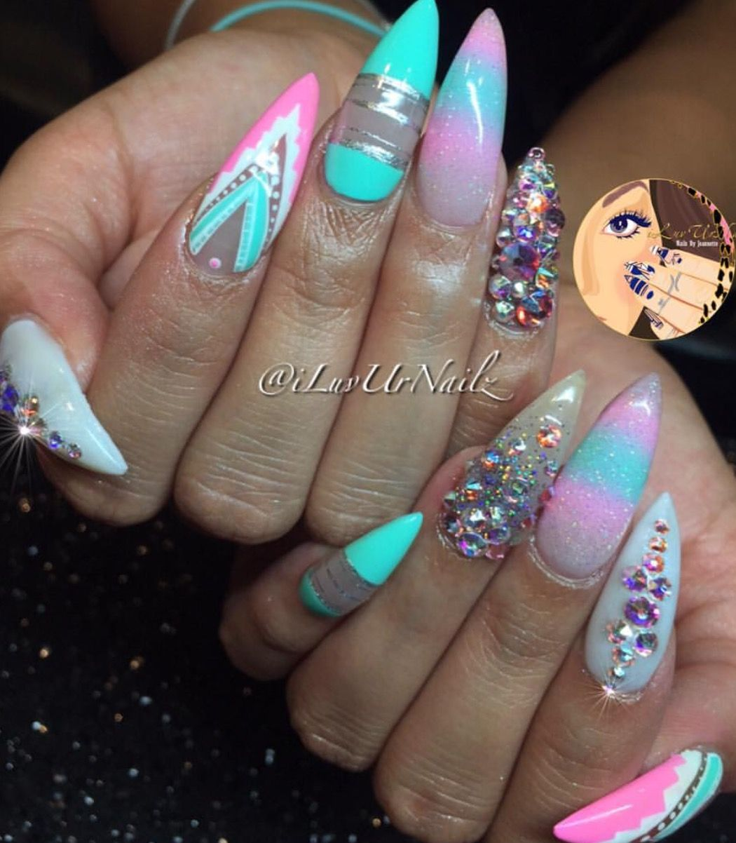 Like the decorations but don\'t like the shape!! | nails | Pinterest ...
