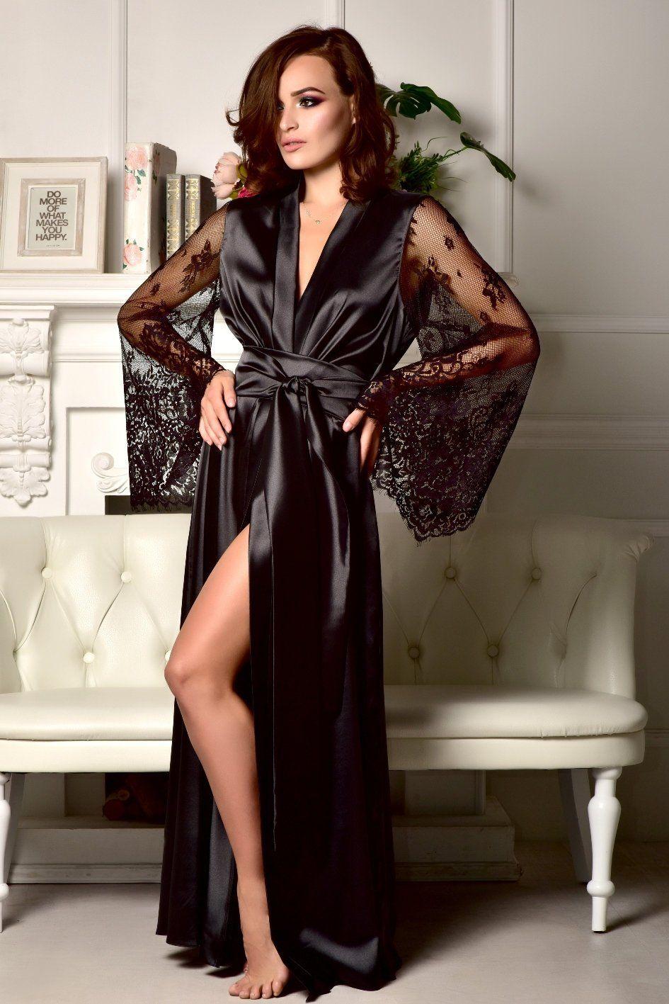 ad6bd627ffc Black lace bridal robe Sexy robe Kimono robe Long robe Long bridal ...