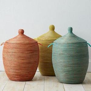 Basket for living room throws: Senegalese Charm Basket
