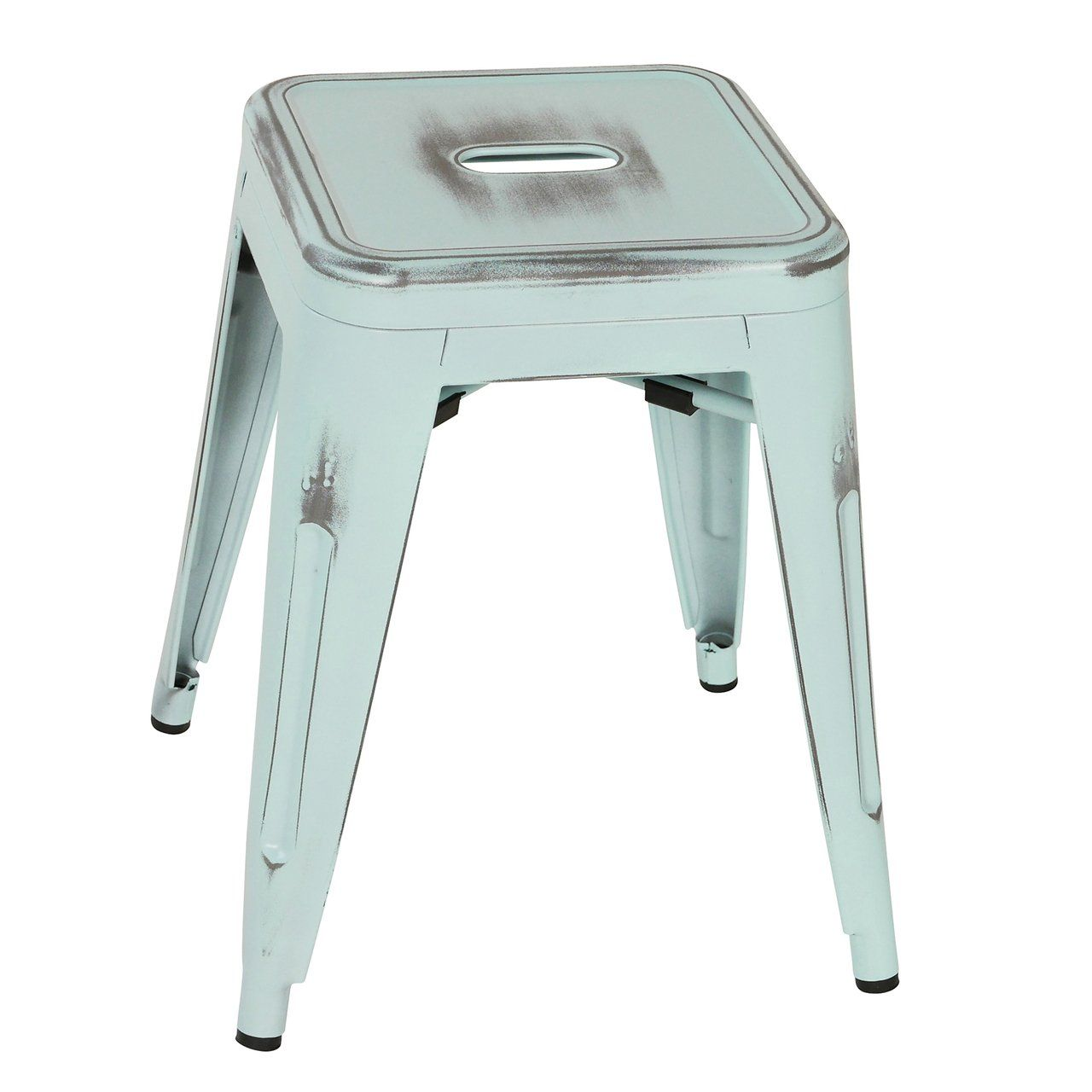 Metal Industrial 18 Inch Stool Antique Blue Distressed