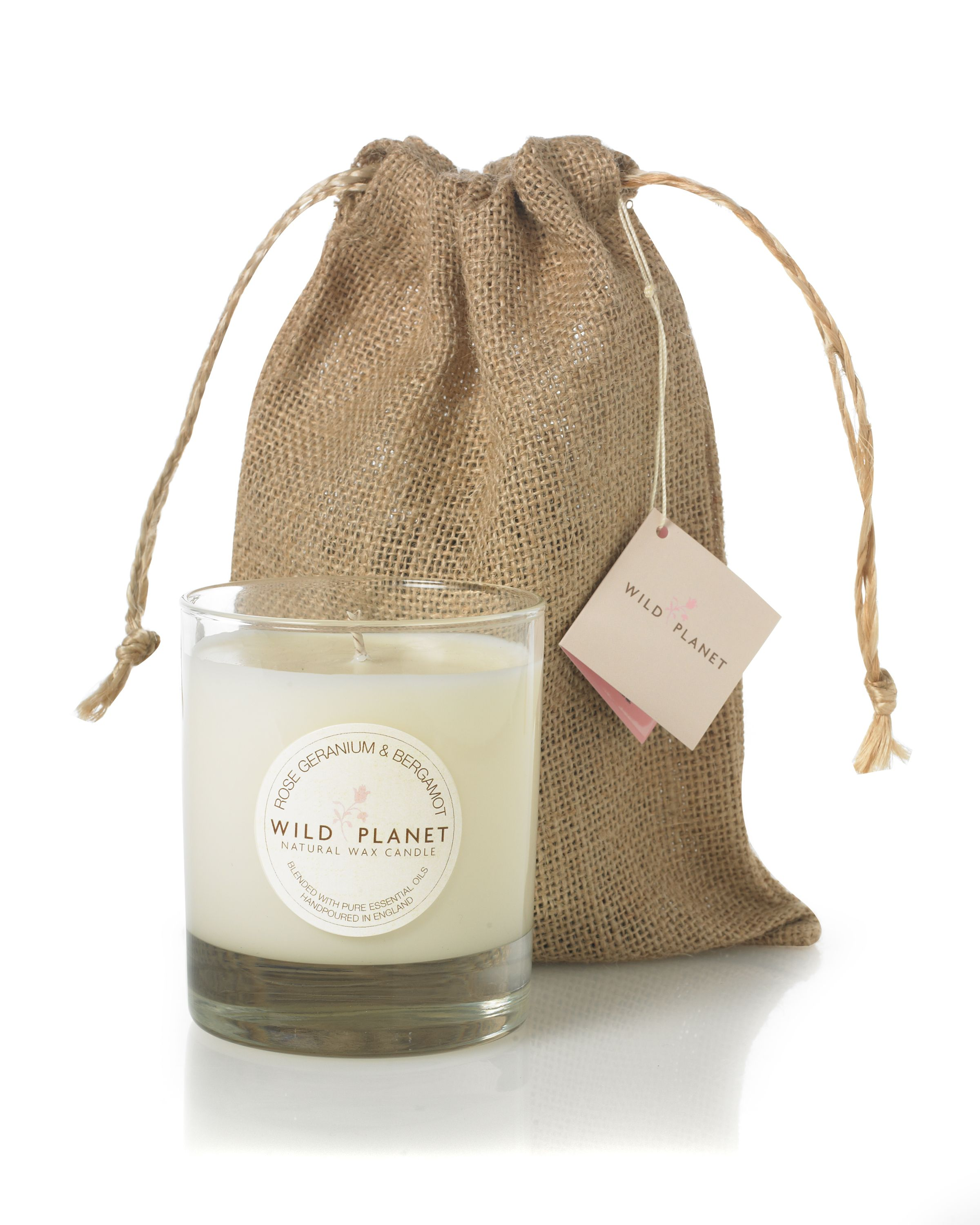 Rose Geranium & Bergamot Aromatherapy Medium Candle in Jute Bag - natural soy wax with a 40 hour burn time. Blended with rose geranium & bergamot pure essential oils. Rejuvenating, harmonizing stress busting, can help to combat general fatigue. £21.95