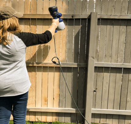 How To Stain Your Fence Quickly With Images Using A Paint Sprayer Stain Projects Paint Sprayer