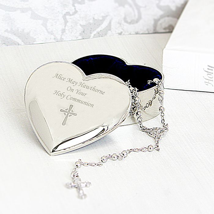 Personalised first communion rosary beads box silver heart ideal first communion or christening gift this personalised silver rosary beads box is decorated with a simple cross and can be personalised by you negle Images