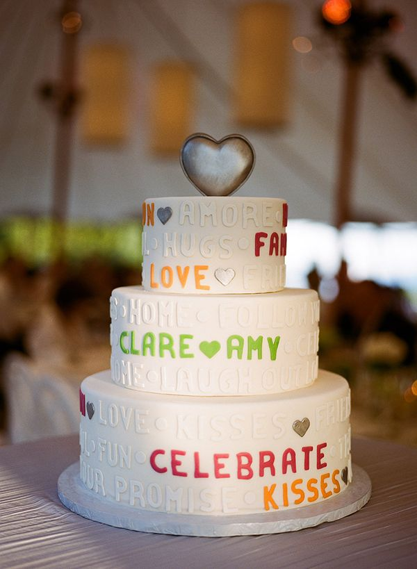 Gluten Free Chocolate Wedding Cake with Colored Letters Meg Smith