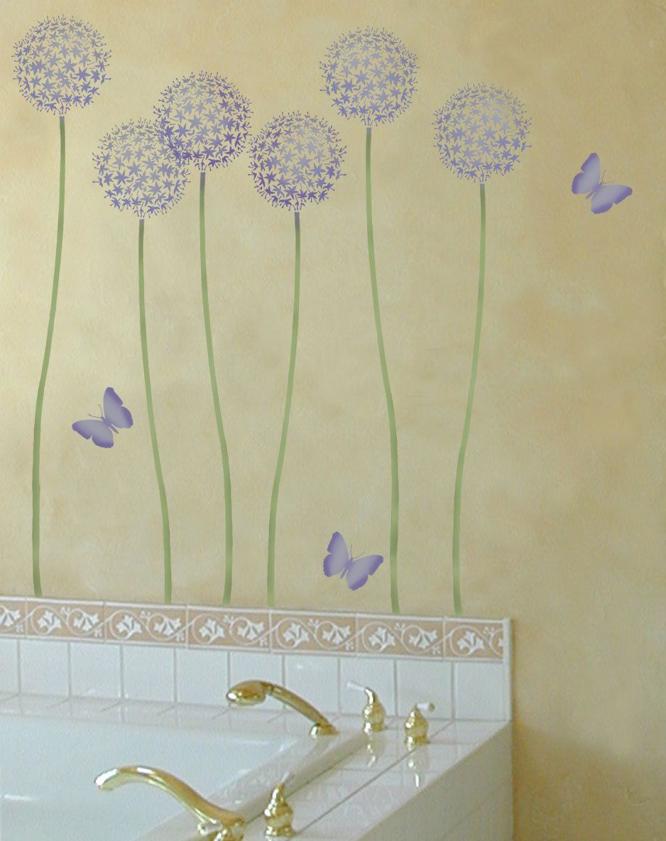 Flower stencil allium gladiator reusable wall stencils wall flower stencil allium gladiator reusable wall stencils amipublicfo Image collections