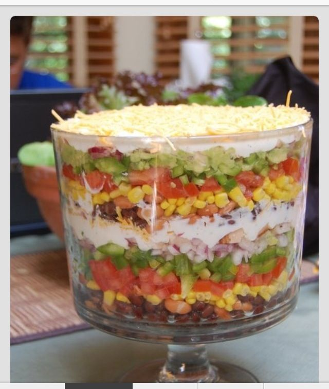 7 Layer Dip Trifle Bowl Trifle Bowl Recipes Pampered Chef Recipes Layered Salad Recipes